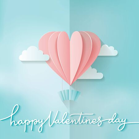 Heart shape Pink hot air balloon flying. Love in paper cut style. Origami heart and clouds. Happy Valentines day hand lettering. Romantic Holidays. 14 February.