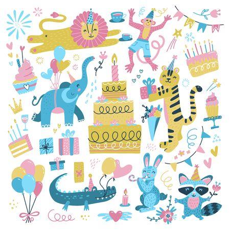 Wszystkiego najlepszego z okazji urodzin. Impreza tematyczna dla dzieci z uroczymi zwierzętami: mały króliczek, lew w czapce, małpa, słoń, szop, krokodyl, tort, balony, tygrys z prezentem. Zestaw ilustracji wektorowych płaski