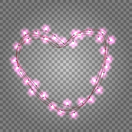 Pink light bulbs in heart shaped frame on transparent background. Holiday illumination made of garland wire for Happy Saint Valentine's day. Vector Illustratie