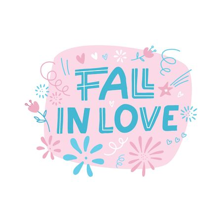 fall in love Doodle scandinavian Lettering design card template. Hand written lettering. Can be used as a poster for Valentine's day and wedding or print on t-shirts and bags Reklamní fotografie - 137214461