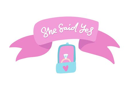 She said yes phrase. Lettering for wedding. Ink illustration. Modern brush calligraphy with ribbon and dimond ring. Isolated on white background. Ilustrace
