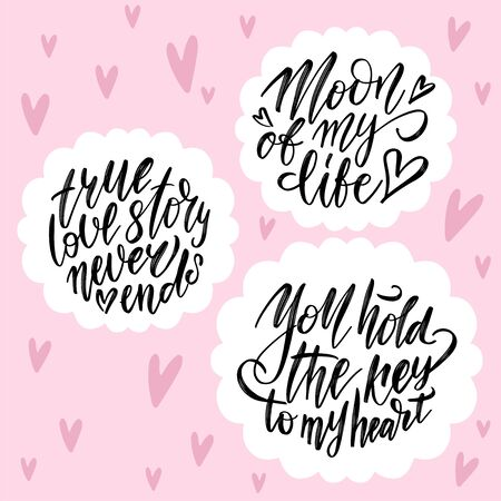 Hand drawn lettering set with romantic phrases about love. Monochrome vector illustration collection on pink background