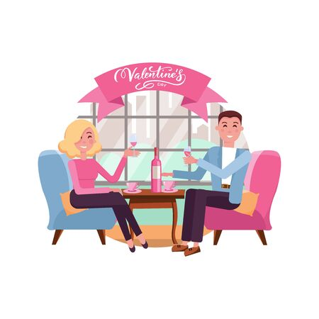 Man and woman in restaurant on the romantic date. Couple in love. People sitting at the table with a glass of wine. Romance relationship. Isolated flat vector illustration