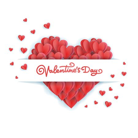 Symbol of big heart consisting of a multitude of red smallhearts isolated on a white background. Heart frame with lettering label. Picture for St. Valentine's Day. Reklamní fotografie - 137457733