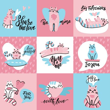 Set of cute creative cards with funny cats in love. Vector design templates for valentines, greeting and gift cards, flyers, posters. Happy love day lettering quotes. Ilustrace