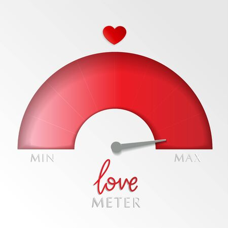 Love meter. Valentine's day greeting card design element. Measuring device of love with gradient scale. Vector layered illustration.