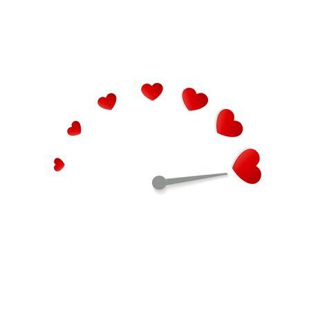 Valentine card with love gauge concept design on red background suitable for cards, postcards, promotion. vector illustration of love meter. Ilustrace