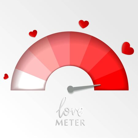 Valentine card with love gauge concept design on white background suitable for cards, postcards, promotion. Layered love meter. Vector illustration. Reklamní fotografie - 137457839