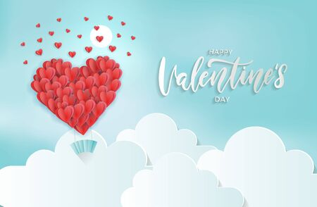 Paper art of heart balloon flying and scattering little heart in the sky, origami and valentine's day concept, vector art and illustration. Reklamní fotografie - 137459079