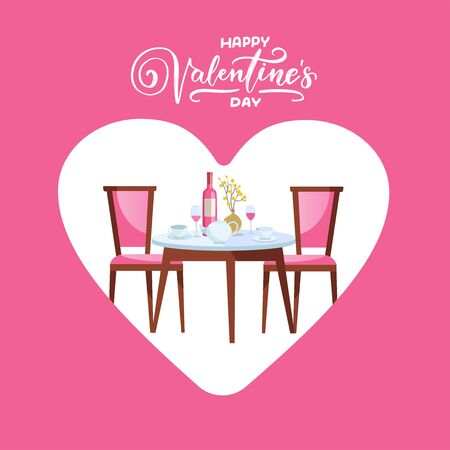 Happy valentines day restaurant table with heart. Flat vector illustration design with hand lettering for invitation cards Ilustrace