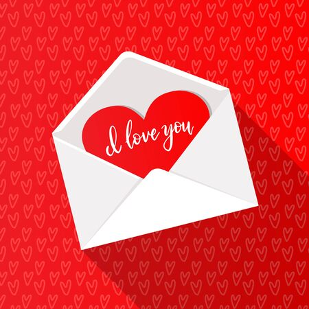 postcard one white paper blank empty heart in open red envelope recognition valentine's day Reklamní fotografie - 137529275