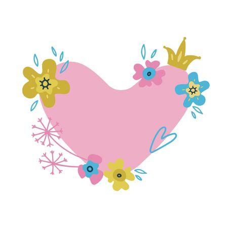 Flower frame-wreath. Floral background. Space for text in floral heart. Can be used for wedding invitation, card, ticket, branding, Valentine card. Vector flat doodle illustration Reklamní fotografie - 137531187