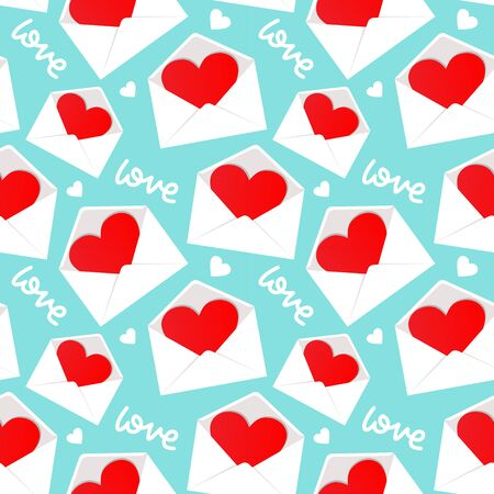 White envelope with Valentine heart inside pattern seamless background in flat style repeat vector illustration. Lettering text - love Reklamní fotografie - 138357626