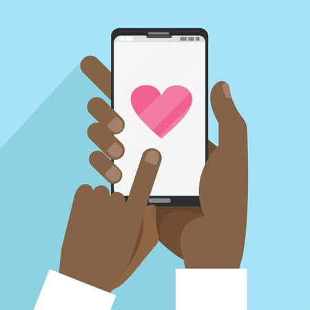 Valentines Day card with black male hands holding smart phone with heart in flat cartoon style. Social media communication