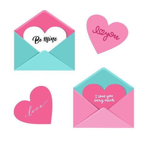 Flat envelopes set on white background. Open envelope with big heart in it, love letter concept with hand lettering quotes. Flat vector illustration. Reklamní fotografie - 137599407