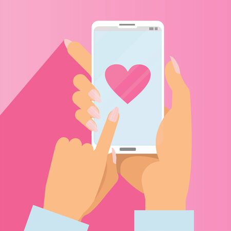 Sending love message concept. Female Hands holding phone with big heart on screen. Web sites, banners, infographics design. Finger touch screen. Vector flat cartoon illustration for valentines day.