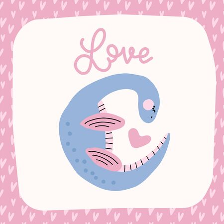 Cute dinosaur with heart. Nursery decor, wall decor, postcard, Valentines greeting card design. Stickers, children art. Lettering quote - Love Reklamní fotografie - 137687932