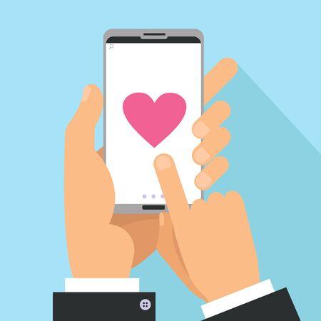 Concetto di condivisione dell'amore. Mani maschili che tengono il telefono con un grande cuore sullo schermo. Schermo tattile con le dita. Illustrazione del fumetto piatto vettoriale per San Valentino Vettoriali