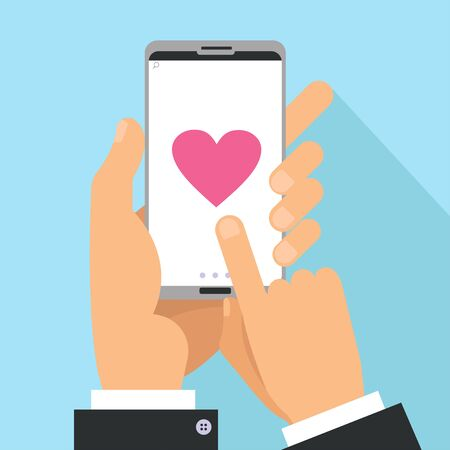 Love sharing concept. Male Hands holding phone with big heart on screen. Finger touch screen. Vector flat cartoon illustration for valentine s day Reklamní fotografie - 138357636