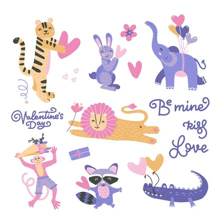 Big Valentines day set with cute funny animals, hearts, text. Isolated objects on white background. Hand drawn vector illustration. Scandinavian style flat design. Concept for card, children print. Ilustrace
