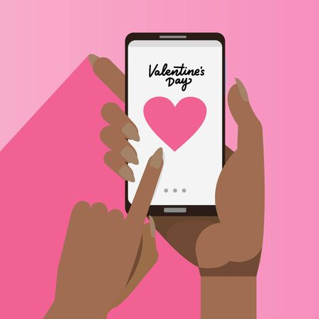 female african hands holding smartphones with big heart on the screen. Happy valentines day concept. Afro american woman lovers chat in mobile app internet communication Ilustrace