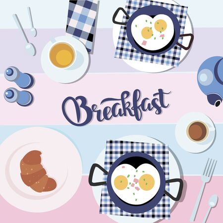 Scrambled eggs, croissant with cup of tea healthy food flatlay. White plate background flat design vector illustration of Valentines day morning