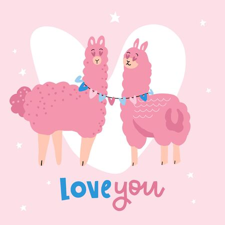 Valentines day card featuring a cute llama couple. two pink appacas in love greeting Valentines card. Flat vector illustration