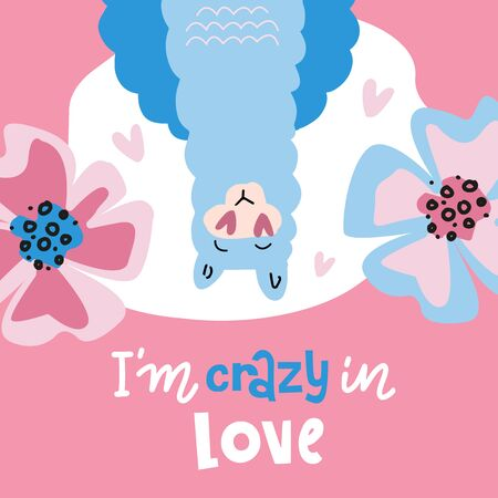 Upside down Llama, blue fluffy alpaca vector graphic illustration, isolated on pink background with big flowers. Llama head with love heart eyes. im crazy in love - lettering valentines quote.