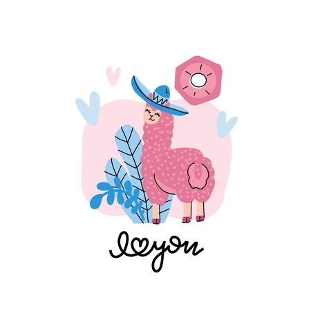 Cute llama in a hat with hearts on a pink background with floral elements. Valentines day card with lettering I love you