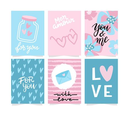 Set of Valentine's day artistic hand drawn greeting card or background in trendy style. Cute templates with lettering and doodle design. Flat hipster graphic of poster, label, banner. Vector. Reklamní fotografie - 137887553