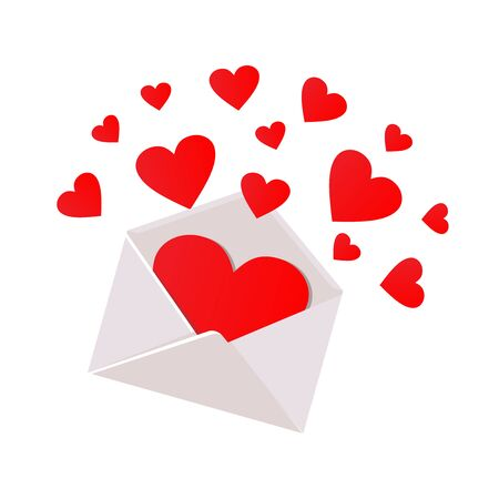 Vector open romantic envelope. Inside many red flying hearts. Isolated on white background. Flat Vector illustration for Valentines day