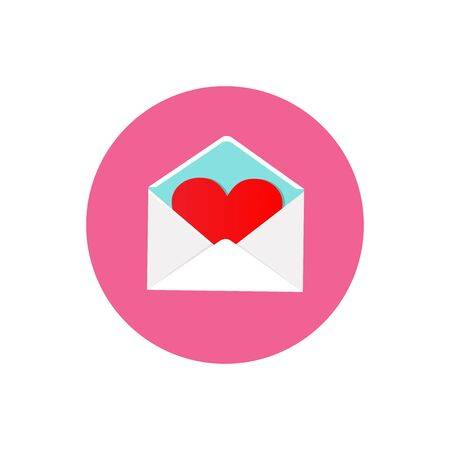 Valentine Day Love Postcard with Envelope Circle Icon. Flat Design Vector Illustration . Happy Valentine Day and Love Symbol.