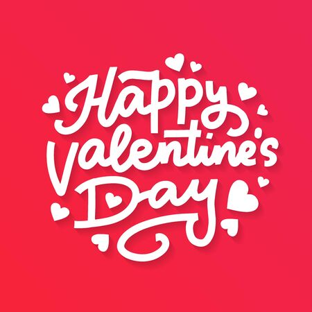 Valentines Day Lettering Background. Happy Valentines Day text on a red background Ilustrace
