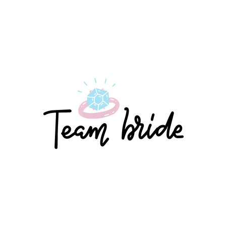 Bachelorette party, hen party or bridal shower hand written calligraphy card and diamond ring, banner or poster graphic design lettering vector element.