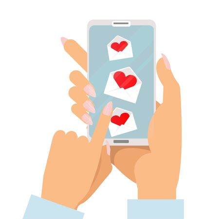 Womans two hands with manicure holding smartphone with love messages on screen. Manu envelopes with hearts. Flat Vector illustration