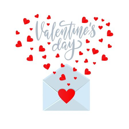 Valentine card template, opened envelope with cut hearts flying out. Ilustrace