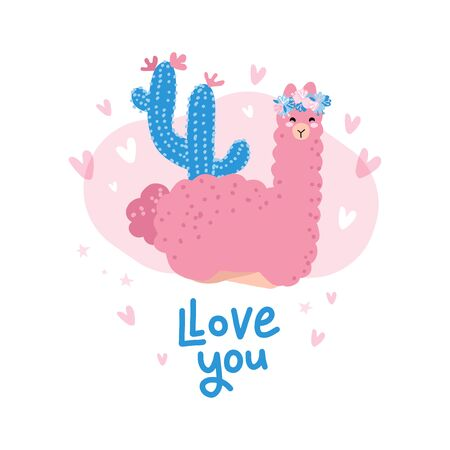 Cute cartoon llama character illustration for valentines day. Love you llots motivational and inspirational quote with llama head for card and shirt design