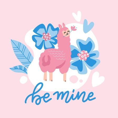 Llama vector poster. Simple cute pink llama drawing with lettering quote - be mine. Valentine's day card featuring a cute alpaca with big flowers. Reklamní fotografie - 138046968