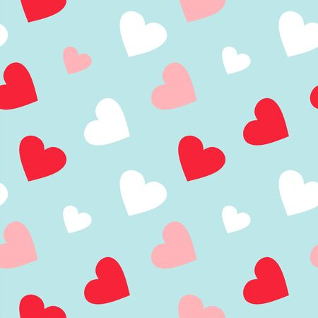 Colorful red and white hearts pattern. Valentines Day background in pastel colors. Decorative vector elements.