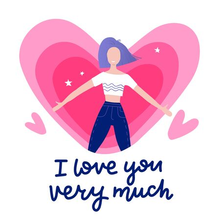 Girl feeling in love with lettering texts - i love you very much - with heart on background. Cute vector, cartoon, valentines day decoration card, banner, website