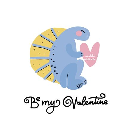 Valentines day greeting card with flat style dino sitting with a big heart in its paws, hand drawn typography - be my Valentine- for holiday poster, romantic badge, celebration printing. February 14