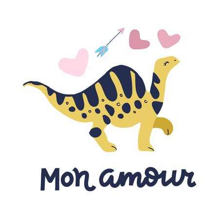 Valentines day greeting card with flat style baby dino diplodocus, hand drawn typography - Mon amour - for holiday poster, badge, celebration printing. February 14. Translation from french - my love Ilustrace