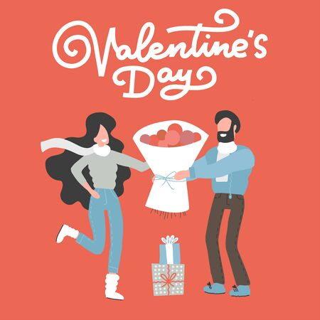 Valentine's day card with happy couple. Man giving to his woman a bouquet of flowers. Vector illustration. Reklamní fotografie - 138192336