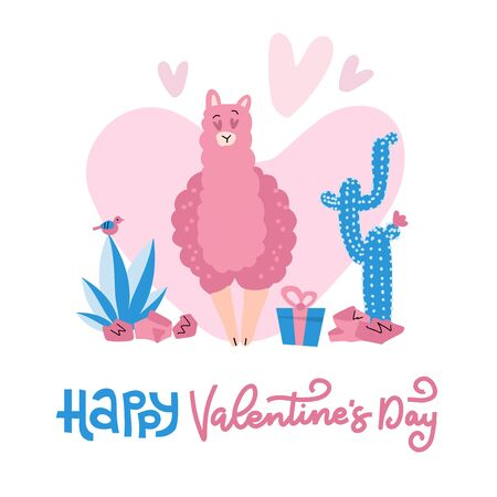 Hand drawn Valentines day card with cute funny llama in love , cacti, text Happy Valentines day. Vector illustration. Scandinavian style flat design. Concept for celebration, invite, children print. Reklamní fotografie - 138357649