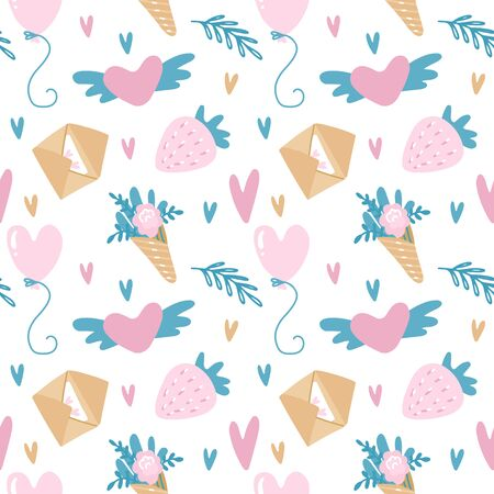 Vector seamless pattern for Valentines Day in pink and turquoise colors with envelopes, strawberry, balloons and flowers. Beautiful seamless background for romantic Illustration