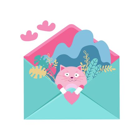 Loving cat fall in love sitting in envelope with heart for Valentines Day. Vector flat illustration character design