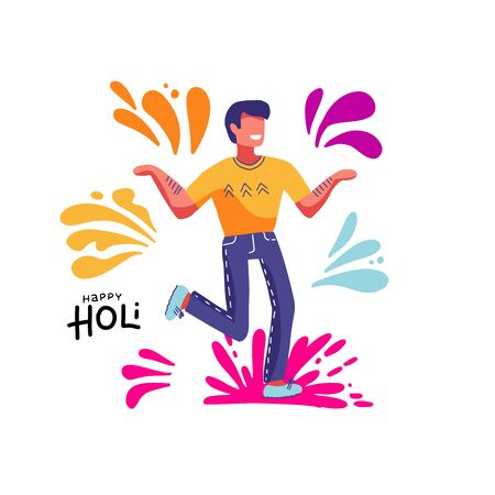 Happy Holi. Man taking part in traditional Indian Festival of Colours. Joyful happy guy. Colorful isolated print. Vector illustration on white background with color spots, splash