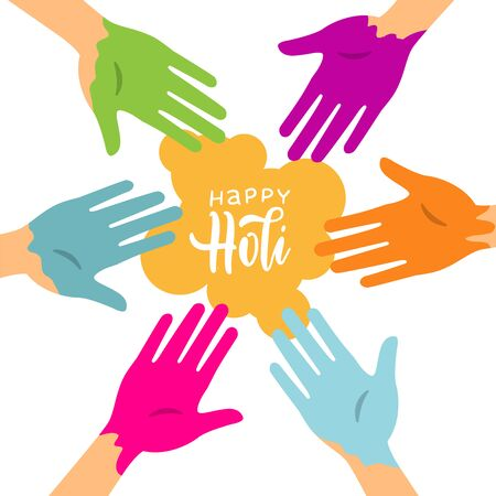 Happy Holi colorful background with circle of hands stained with paint. Party banner for color festival. Vector illustration on white background with color spot and lettering Ilustrace