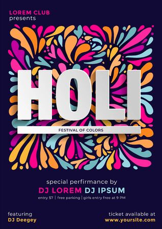 Indian festival of color holi party poster template or flyer design with time and venue details. Hand drawn flat vector pattern with lettering.