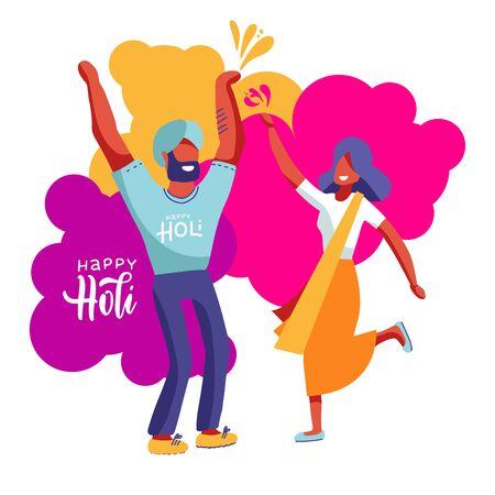 Illustration of indians couple celebrating together holi festival, dholi playing dhol on color splash background. Poster or banner design for Holi festival.